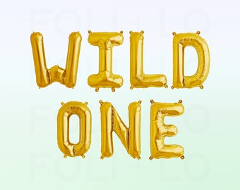 "WILD ONE Letter Balloons | 16"" Gold Mylar Letter Balloons 