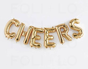 "CHEERS Letter Balloons | 16"" Gold Letter Balloons 