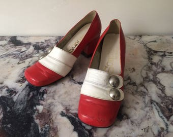 1960s vintage red and white leather pumps heeled shoe with chunky heel - Size UK 4 EU 37 US 6 - Mod Sixties Yeye Psych