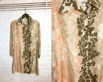 1960s silk multicolour funky shirt blouse dress with pink and brown psychedelic print - UK 8 EU 36 US 6 - Sixties Mod Yeye Cute