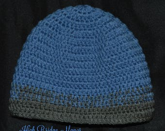 Men's blue crochet beanie, size medium men's fitted hat, men's warm winter hat