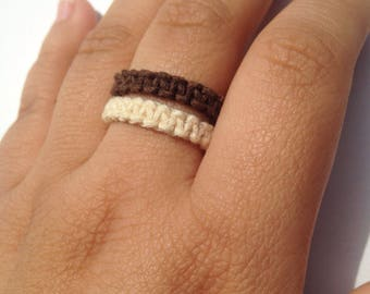 bohemian hemp ring, macrame ring, stackable ring, unisex ring, loop ring, gift ring, boho ring, braided ring, charm ring crystal,