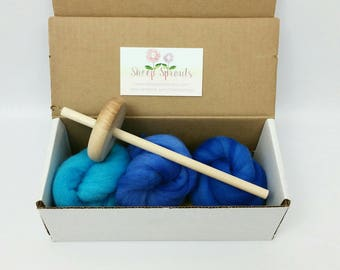 Learn to Spin Kit - Mini Blues Kit - Drop Spindle + Fiber Bundle - Hand Dyed US Wool Roving - 1/2 (.5) oz each of 3 Colors US Wool + Spindle
