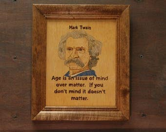 Mark Twain - portrait and quote on age