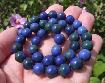 4 AZURITE CHRYSOCOLLA 8 MM MULTICOLORED BLUE BEADS.