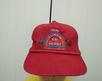 Rare Vintage ALASKA RAINBOW Bay Resort | Fishing And Hunting Lodge Embroidered Corduroy Cap Hat Free size fit all