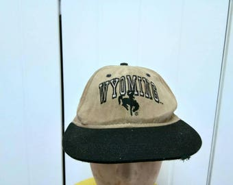 Rare Vintage WYOMING Cowboy Joe Club Spell Out Cap Hat Free Size Fit All
