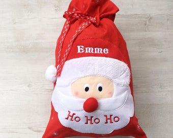 Santa Sack, Personalised Santa Christmas Sack, Father Christmas Embroidered Name