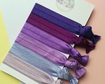 Purple,Lilac,Mauve, hair ties, pack of 6, easter gift, yoga ties,snag free, ponytail holders,fold over elastic,Uk seller