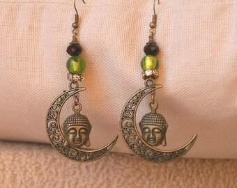 Dangling filigree Moon and Buddha, Zen style for pierced earrings