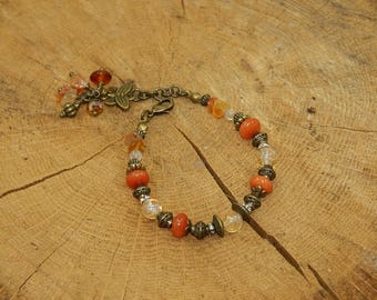 Bracelet antique bronze and precious stones, Carnelian and citrine