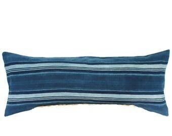 14x36 Indigo Stripe Mudcloth Lumbar Pillow, Blue White Stripe Bed Pillow, Bohemian Pillow, Coastal Pillow, Boho Pillow, Bed Pillow