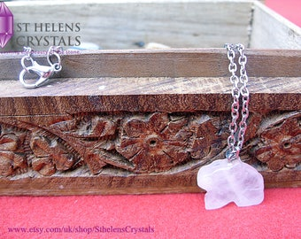 Rose Quartz Rabbit Lucky Charm Crystal Pendant Necklace From St Helens Crystals