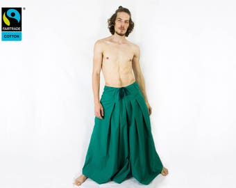 Fairtrade pants green - hakama pants harem pants knickerbockers , fair vegan organic