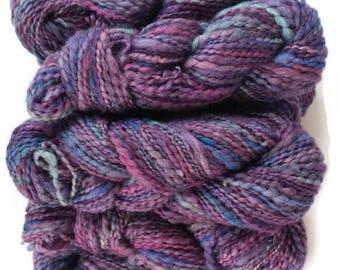 Purple Rain wool yarn, handspun art yarn, bulky yarn, 1110 yards, multi-color yarn, handmade yarn, hand dyed yarn, hand spun yarn, bulk lot