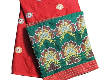 """Indian Embroidered Dress Material Sewing Curtain Drape By the Yard Fabric Home Decor Dress Tunic Fabric 100% Cotton Fabric Wrap 40"""" Wide"""