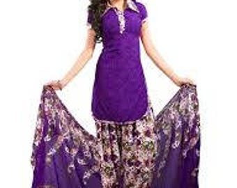 Printed Dress Fabric Indian Traditional Unstitched Suit Salwar Dupatta Set Purple Tunic Top Veil Pant Set Gift For Her Craft Fabric Material