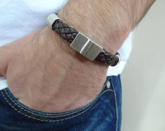 EXPRESS SHIPPING,Brown Braided Leather Bracelet,Men's Leather Bracelet,Men's Jewelry,Magnetic Clasp Bracelet,Gift for Him,Father's Day Gifts
