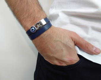 EXPRESS SHIPPING, Men's Evil Eye Bracelet, Navy Blue Leather Bracelet ,Protection Bracelet, Mens Jewelry, Wrap Bracelet, Father's Day Gifts