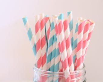 Pink Blue and White Stripe Paper Straws - Baby Shower Gender Reveal Party Decoration - Drinking Straw 25pc It's A Girl Boy Ice Cream Parties
