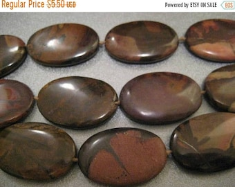 ON SALE 15% OFF Mexican Jasper Oval Beads 10pcs