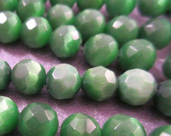 ON SALE 15% OFF Green Cat's Eye Faceted Round 6mm Beads 65pcs