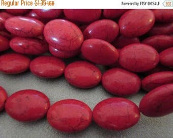 ON SALE 15% OFF Red Magnesite Beads Oval 23pcs