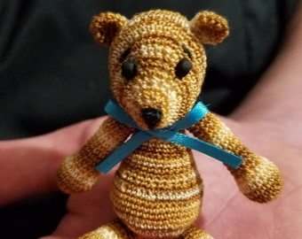 Tiny honey hand crocheted collectable miniature bear