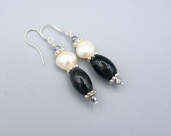 Moss Agate Earrings,  white pearl earrings,  Gemstone Earrings , dark green earrings