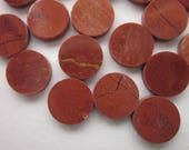 24 Poppy Jasper Cabochons, Warm Reddish Brown with Light and Dark Veining, 9mm Round Flat Coin