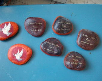 wedding favors-painted stones for confirmation of Luca