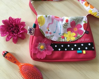 Faux leather shoulder bag and decorative fabric * to order - fabric choices *.