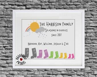 Personalised Welly Family Print ~ Personalised Family Print ~  Quirky Family Gift ~ Wellington Boot Family Print ~ Welly Boot Print
