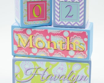Age Blocks - Baby Age Blocks - Baby Age Prop - Baby Shower - Milestone Blocks - Photo Prop - Nursery Decor - Pastel - Paisley, Lavender