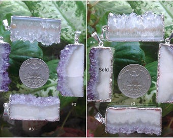 Amethyst Slice Pendant Silver Plated