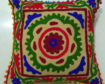 Embroidered Cushion covers, hand made suzani cushion covers, Turkish decor, colorful pillow cases, home decor