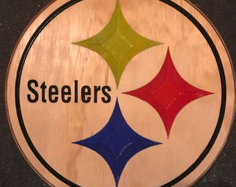 Carved Wooden Pittsburgh Steelers Sign