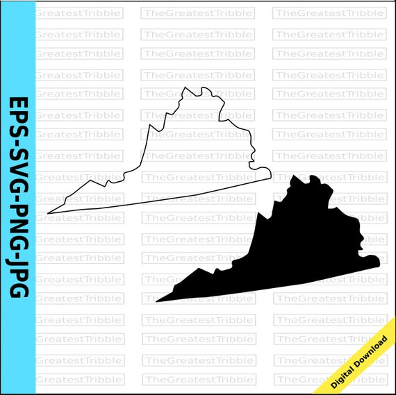 virginia state map eps svg png jpg vector graphic clip art virginia state outline virginia silhouette from thegreatesttribble on etsy studio