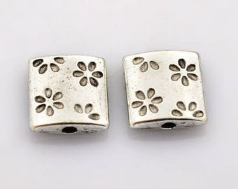Set of 5 flowers 10x10mm antique silver metal flat RECTANGLE beads