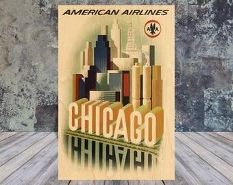 wooden postcard, wood postcard sets, America Airlines, Chicago postcard, wood art, Vintage Travel Poster, wooden Gift, antique art, ephemera