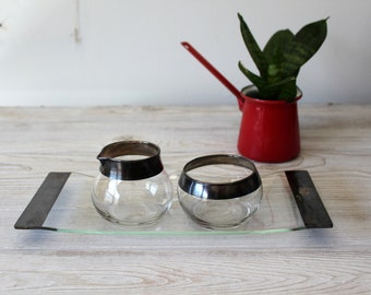 Vintage Creamer and Sugar Set With Matching Tray