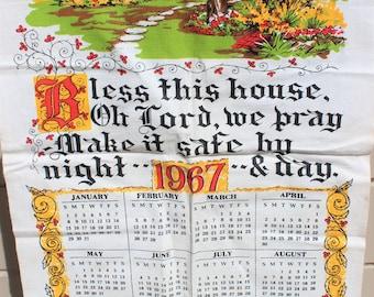 Vintage Linen Tea Towel 1967  Prayer Blessing Calendar