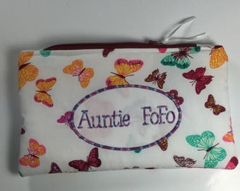 White Butterfly Personalised Pencil Case, Zipped Bag. Fully Lined Butterfly Pencil Pouch. Personalized Pouch. PInk Butterflies Embroidered