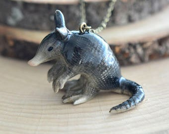 Hand Painted Porcelain Armadillo Necklace, Antique Bronze Chain, Vintage Style, Ceramic Animal Pendant & Chain (CA148)