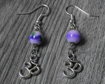 Purple Yoga Earrings - Meditation Jewelry - Bohemian Jewelry - Om Dangle Earrings - Everyday Earrings - Hippie Earrings - Boho Jewelry