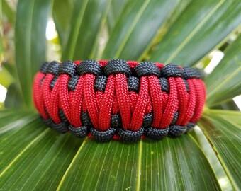 Thin Red Line King Cobra Paracord Bracelet, Firefighter Paracord Bracelet, Wide Paracord Bracelet, Paracord Bracelet, Fireman Paracord
