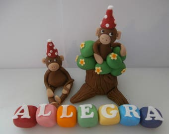 Edible Monkeys and tree,name cubes,cake topper,boy girl,party,birthday,choose colour cubes,cake decoration