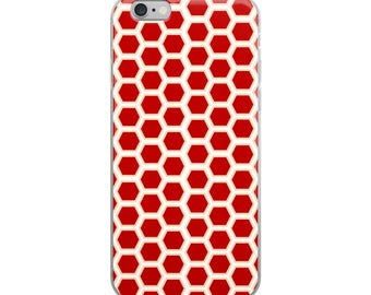 Red pattern iPhone case, geometric design with exciting and vibrant color