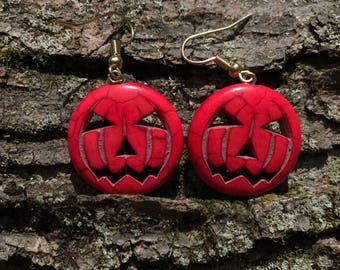 Jack-O-Lantern Earrings - Gold
