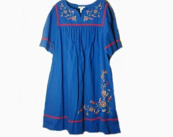Vintage Blue Patio House Dress Embroidered Flowers Lounge Wear Cotton Extra Large
